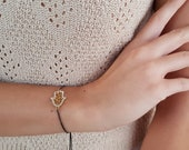 Hamsa Gold Bracelet, Protection Jewelry, Dainty Bracelet, Festival Accessory, Crystal Thin Bracelet, Sliding Adjustable Gunmetal Bracelet