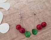Cherry Earrings, Fruit Earrings, Retro Jewelry, Lampwork Dangle Earrings, Glass Handcrafted, Food Dangle, Summer Trends, Gift For Foodie