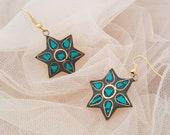 Star Drop Earrings, Bohemian Ear Jewelry, Mosaic Malachite Inlay Earrings, Tribal Boho Earrings, Tibetan Gypsy Ear Dangle, Birthday Gift Her