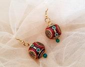 Boho Sphere Earrings, Tribal Gypsy Dangle, Tibetan Ethnic Jewelry, Stone Inlay Hook Earrings, Brass Round Ear Dangle, Christmas Gift For Her