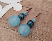 Gemstone Ball Earrings, Sky Blue Agate Sphere Dangle, Long Dangly Earrings, Natural Stone Drop Earrings, Boho Female Jewelry, Birthday Gift
