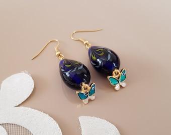 Glass Teardrop Teal Earrings, Butterfly Enamel Earrings, Tiny Dangle Drop, Animal Fashion Jewelry, Lampwork Bead Earrings, Birthday Gift Her