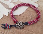 Beaded Bangle Boho Bracelet, Leather Silver Toggle Bracelet, Gypsy Hippie Statement Bracelet, Girlfriend Gift, Birthday Gift For Best Friend