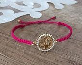 Family Bracelet, Tree Of Life Jewelry, Boho Friendship Bracelet, Pink Mothers Day Gift, Macrame Adjustable Bracelet, Minimalist Sister Gift