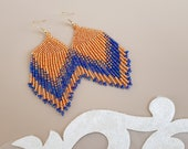 Seed Bead Fringe Earrings, Big Bold Tassel Dangling, Oversized Long Earrings, Boho Chic Jewelry, Statement Beaded Dangle, Mother's Day Gift