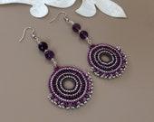 Beaded Hoop Disc Earrings, Fan Earrings, Big Circle Dangle, Swarovski Crystal Boho Chic Jewelry, Amethyst Purple Earrings, Birthday Gift Her