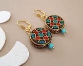 Boho Circle Earrings, Tribal Jewelry, Dangle Leverback, Gypsy Earrings, Ethnic Tibetan Jewelry, Ornate Earring, Oriental Dangle, Unique Gift