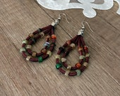 Boho Hoop Earrings, Leather Jewelry, Earthy Dangle, Double Teardrop Earring, Autumn Fall Jewelry, Beaded Gypsy Earring, Rustic Hippie Dangle