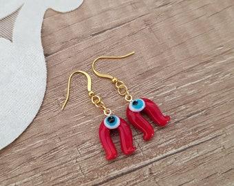 Horseshoe Glass Evil Eye Earrings, Good Luck Jewelry, Miniature Cute Earrings, Equestrian Jewelry, Lucky Dangle, Christmas Earring, Gift Her