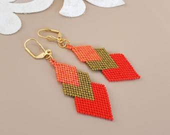 Burnt Orange Triangle Chevron Earrings, Rust Seed Bead Arrow Earrings, Geometric Statement Dangling, Bohemian Jewelry, Birthday Gift Her