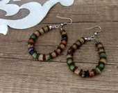 Beaded Hoop Earrings, Bohemian Festival Jewelry, Colorful Earrings, Boho Glass Earrings, Earthy Jewelry, Big Round Dangle, Birthday Gift Her