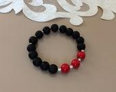 Matte Black Gemstone Bracelet, Healing Stretch Bracelet, Stylish Jewelry, Coral Onyx Bracelet, Natural Stones Jewelry, Spiritual Gift Her