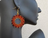 Crystal Hoop Earrings, Red Gold Hoops, Bright Fashion Jewelry, Birthday Gift Her, Seed Bead Circle Earring, Brilliant Fine Women Accessory