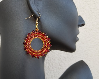 Seed bead circle earrings, Hollow round hoop earrings, Crystal beaded red gold hoops, Bright fashion jewelry, Brilliant Women Accessory