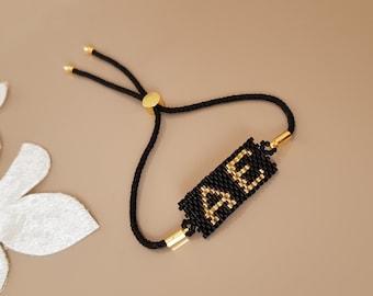 Personalized Bracelet, Initial Bracelet, Beaded Alphabet Jewelry, BFF Gift, Custom Letter Jewelry, Adjustable Bracelet, Birthday Gift Her