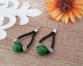 Leather Loop Earrings, Boho Chic Jewelry, Teardrop Hoop Loop Earrings, Green Glass Dangle, Black Cord Leather Earrings, Silver Glass Jewelry