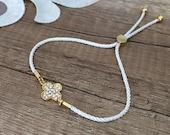 Lucky Clover Bracelet, Lucky Charm Jewelry, White Cord Bracelet, Adjustable Bracelet, Gold Dainty Gift, Elegant Jewelry, Birthday Gift Her