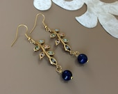 Leaf Branch Earrings, Evil Eye Jewelry, Lapis Earrings, Gold Leaf Dangle, Boho Gemstone Earrings, Long Leaves Dangle, Women Fashion Jewelry