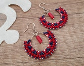 Beaded Ear Hoops, Statement Earrings, Red Coral Earrings, Boho Bead Jewelry, Large Hoop Dangle, Artisan Gypsy Jewelry, Birthday Gift Her