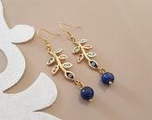 Leaf Branch Earrings, Evil Eye Jewelry, Lapis Earrings, Gold Ear Dangle, Leaf Ear Jewelry, Boho Chic Earrings, Long Leaves Dangle, Gift Her