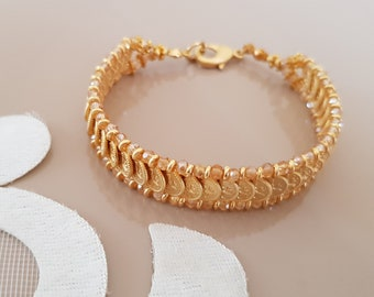 Gold Link Bracelet, Wedding Jewelry, Gold Yellow Cuff, Unique Gift Women, Charms Coins Bracelet, Festival Boho Jewelry, Bridesmaid Gift Her