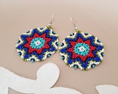 Huichol Star Earrings, Large Circular Mexican Earrings, Seed Beaded Round Disc Dangling, Tribal Boho Jewelry, Lightweight Big Bold Gift Her