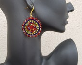 Beaded Large Disc Earrings, Multicolored Big Bold Earrings, Colorful Beadwork Jewelry, Statement Bright Earrings, Valentine's Gift For Her