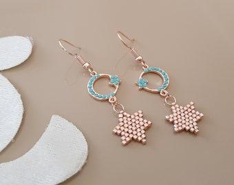 Moon Star Earrings, Space Galaxy Earrings, Minimalist Celestial Jewelry, Cute Earrings, Rose Gold Dangle, Dainty Dangle, Birthday Gift Her
