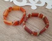 Agate Carnelian Bracelet, Stretch Wide Bracelet, Gemstone Large Bangle, Brown Agate Cuff, Elastic Layering Bracelet, Natural Stone Jewelry