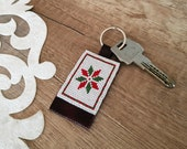 Snowflake Keychain, Christmas Gift Her, Leather Keychain, Holiday Snowflake, Xmas Present for Friends, Christmas Accessory, Beaded Keychain
