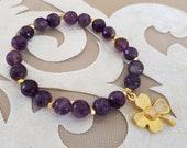 Violet Amethyst Bracelet, Gemstone Stretch Bracelet, Clover Lucky Jewelry, Healing Meditation Bracelet, Natural Protection Jewelry, Gift Her
