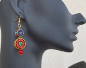 Gypsy Dangle Earrings, Oriental Jewelry, Boho Circle Dangling, Tibetan Jewelry, Ornate Earrings, Ethnic Coral Lapis Earring, Gift For Sister