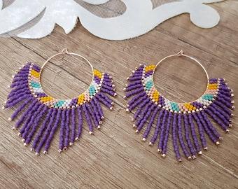 Seed Bead Hoop Fan Earrings, Fringe Large Statement Earrings, Boho Luxe Dangling, Oversized Tassel Earring, Rose Gold Jewelry, Birthday Gift