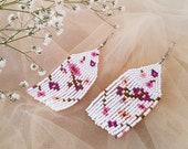 Spring Flowers Earrings, Fringe Beaded Earrings, Bohemian Floral Jewelry, Vivid Blossom Long Earrings, Tassel Boho Dangle, Mother's Day Gift
