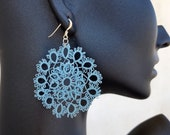 Lace Hoop Earrings, Tatting Earrings, Blue Boho Jewelry, Big Round Earring, Oversized Dangle, Large Disc Lightweight Dangle, Bridesmaid Gift