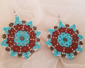 Mandala Huichol Earrings, Mexican Beaded Round Dangling, Geometric Circular Boho Jewelry, Native American Style Earrings, Birthday Gift Her