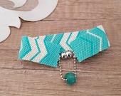 Seed Bead Chevron Narrow Cuff Bracelet, Magnetic Clip Turquoise Peyote Bracelet, Zig Zag Pattern Aqua Blue Jewelry, Birthday Gift Girlfriend