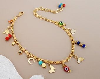 Ankle Body Bracelet, Lucky Jewelry, Minimalist Charms Anklet, Gold Foot Bracelet, Boho Beach Jewelry, Evil Eye Chain Anklet, Birthday Gift