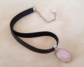 Gemstone Choker Necklace, Rose Quartz Jewelry, Sterling Silver Pendant, Black Leather Choker, Oval Pink Stone Necklace, Birthday Gift Her