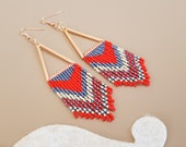 Native American Beaded Earrings, Triangle Fringe Tribal Earrings, Southern Long Dangle, Boho Chic Jewelry, Traditional Western Style Gift