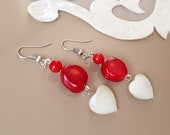 Raw Stone Earrings, Gemstone Jewelry, Coral Earrings, Shell Heart Dangle, Mother Pearl Jewelry, Boho Love Earrings, Birthday Gift For Her