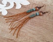 Hippie Feather Earrings, Western Leather Earrings, Leather Tassel Jewelry, Cowgirl Earrings, Boho Jewelry, Copper Long Beaded Dangle, Gift