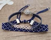 Set of 2 Seed Beaded Stacking Bracelet Set, Handwoven Dark Blue Narrow Cuff, Rhinestone Art Deco Jewelry, Bead Loom Boho Chic Bracelet, Gift
