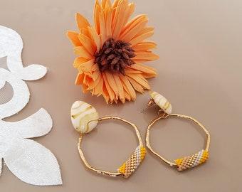Beaded Hoop Earrings, Gold Hoop Earrings Large, Big Round Earrings, Lightweight Statement Jewelry, Boho Chic Jewelry, Birthday Gift For Her