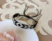 Beaded Tribal Bracelet, Native American Bracelet, Boho Cuff, Ethnic Jewelry, Friendship Black Bracelet, Bohemian Jewelry, Birthday Gift Her