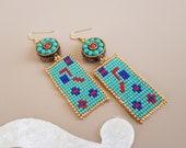 Tribal Dangle Boho Earrings, BFF Gift, Tibetan Jewelry, Unique Ethnic Earrings, Round Drop Dangle, Nepal Gypsy Earring, Turquoise Coral Drop