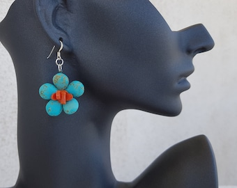 Turquoise Coral Daisy Earrings, Flower Power Gemstone Dangle, Raw Stone Beaded Jewelry, Boho Floral Chunky Earrings, Birthday Gift Her