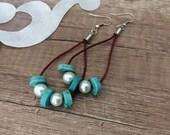 Leather Hoop Earrings, Turquoise Jewelry, Beaded Teardrop Earrings, Southwestern Earrings, Pearl Dangle, Bohemian Jewelry, Birthday Gift Her