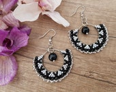 Black White Hoop Earrings, Bead Ear Hoops, Onyx Jewelry, Gemstone Earrings, Beaded Dangle Circle, Boho Gypsy Jewelry, Birthday Gift For Her