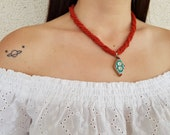 Coral Beaded Necklace, Tibetan Pendant, Authentic Jewelry, Ethnic Tribal Necklace, Bohemian Gemstone Necklace, Spiral Necklace, Gift For Her